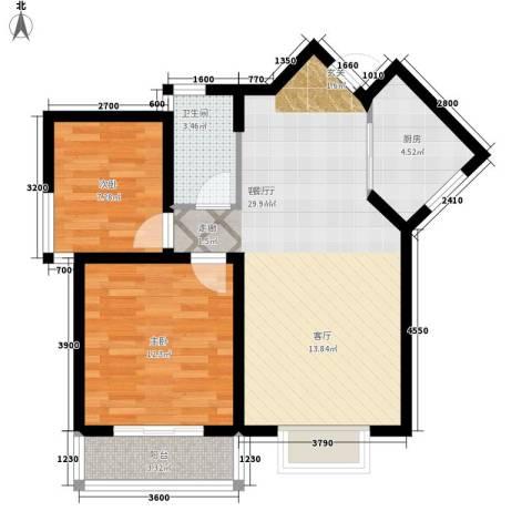 中阳润庭2室1厅1卫1厨83.00㎡户型图