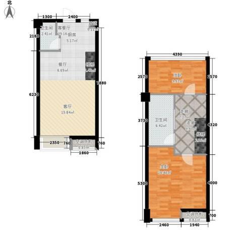 枫景国际公寓2室1厅2卫0厨77.60㎡户型图