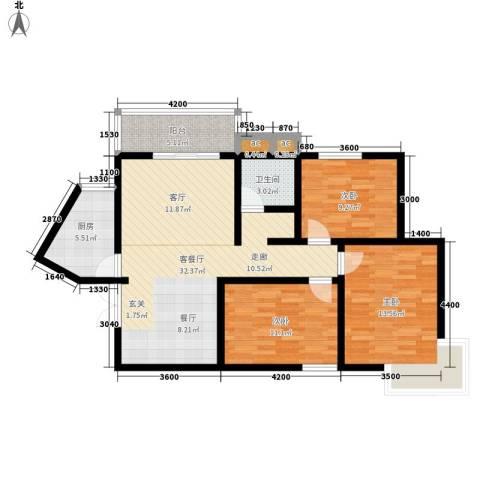 丽水花都3室1厅1卫1厨109.00㎡户型图
