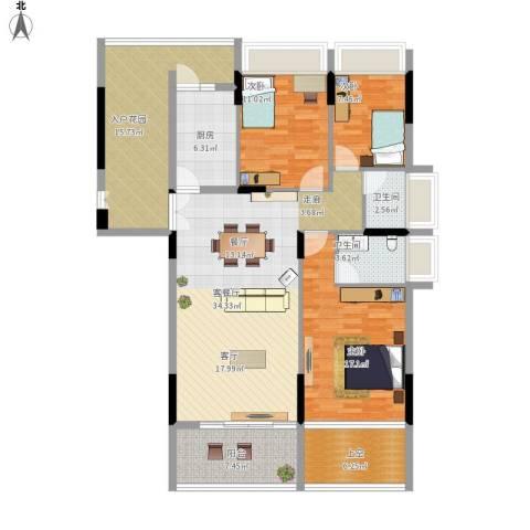 金地梅陇镇3室1厅2卫1厨158.00㎡户型图