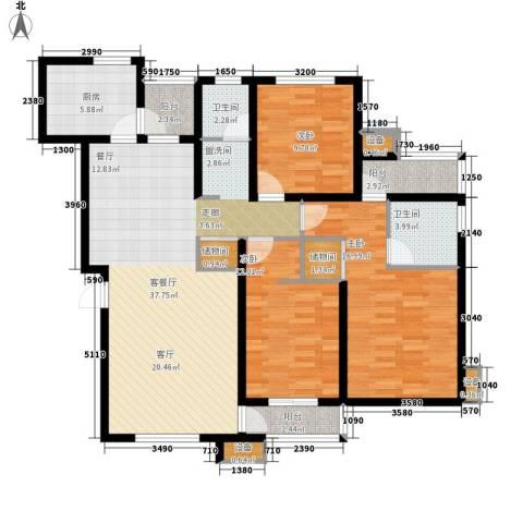 天房美域3室1厅2卫1厨136.00㎡户型图