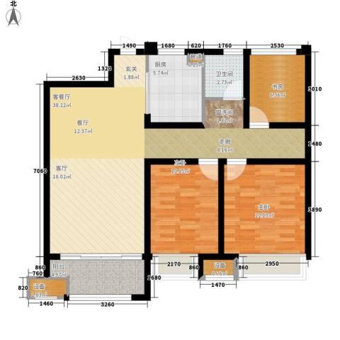 金科天籁城3室1厅1卫1厨95.00㎡户型图
