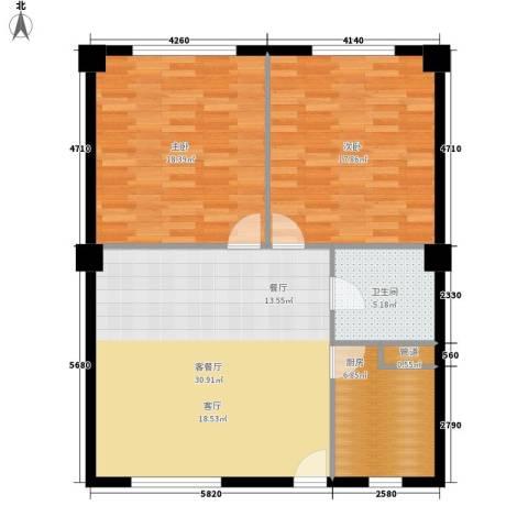 龙脉公馆2室1厅1卫1厨110.00㎡户型图