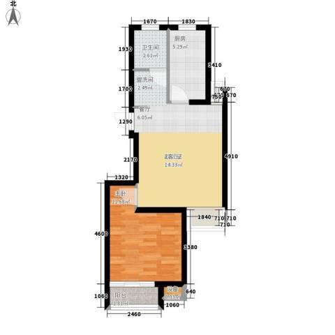 天房美域1室0厅1卫1厨69.00㎡户型图