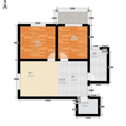 太乙嘉园2室0厅1卫1厨88.00㎡户型图