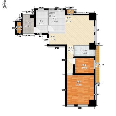 鸿基紫韵2室0厅1卫1厨87.00㎡户型图