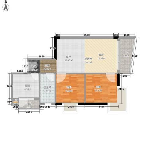 富力尚溢居2室0厅1卫1厨70.00㎡户型图