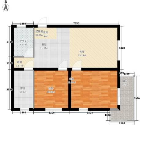 华豪丽晶2室0厅1卫1厨89.00㎡户型图