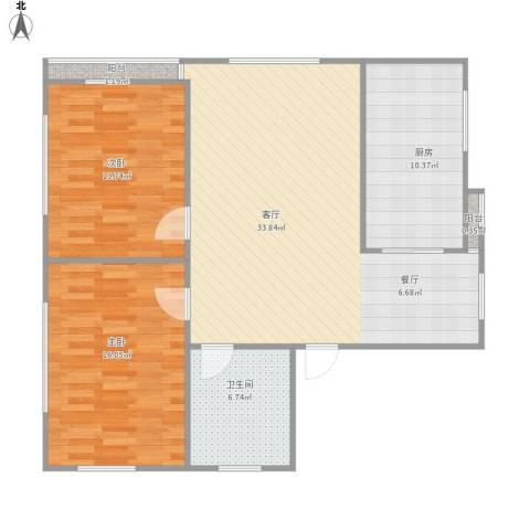 浅草绿阁八期水岸枫庭2室1厅1卫1厨110.00㎡户型图