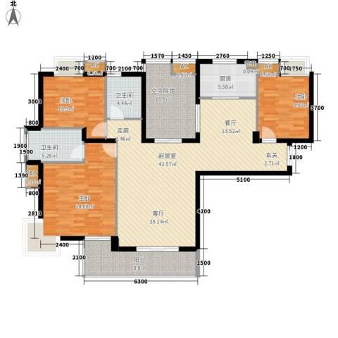 君融天湖3室0厅2卫1厨142.00㎡户型图