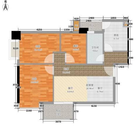富力尚溢居3室0厅1卫1厨87.00㎡户型图