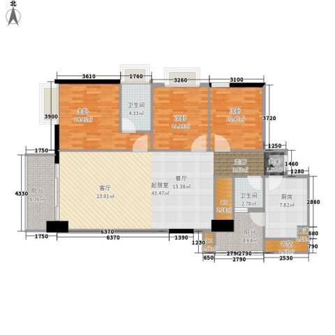 富力尚溢居3室0厅2卫1厨120.00㎡户型图