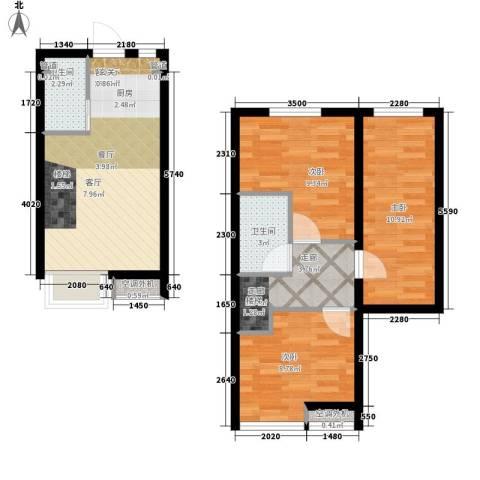 枫景国际公寓3室1厅2卫0厨57.30㎡户型图