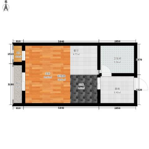 银星苑1卫1厨45.00㎡户型图