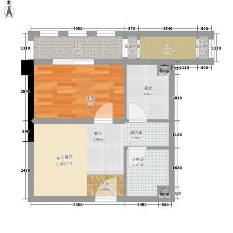 圣龙国际广场1室1厅1卫1厨50.00㎡户型图