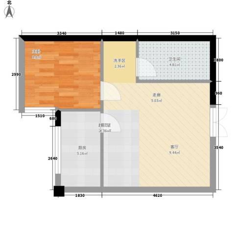 金地园1室0厅1卫1厨52.00㎡户型图