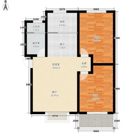 塔元庄园滹沱半岛2室0厅1卫1厨117.00㎡户型图
