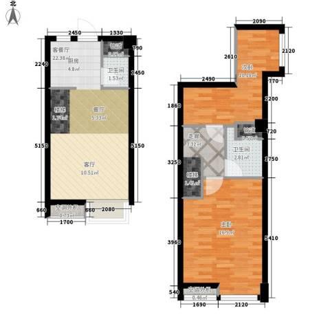 枫景国际公寓2室1厅2卫0厨60.90㎡户型图