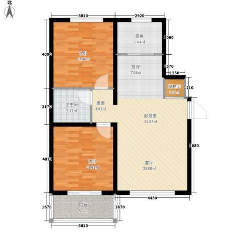 塔元庄园滹沱半岛2室0厅1卫1厨108.00㎡户型图