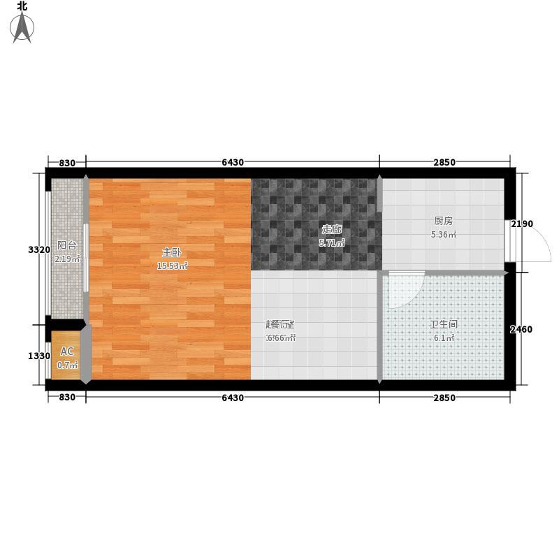 银星苑47.72㎡白领公馆01套型面积4772m户型