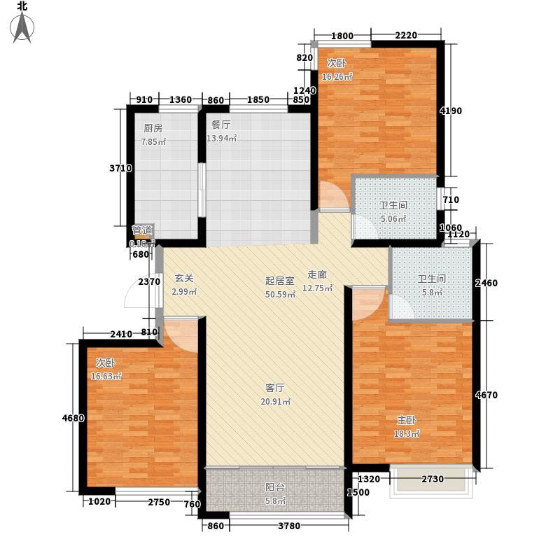 荣盛阿尔卡迪亚141.00㎡10-3已售面积14100m户型