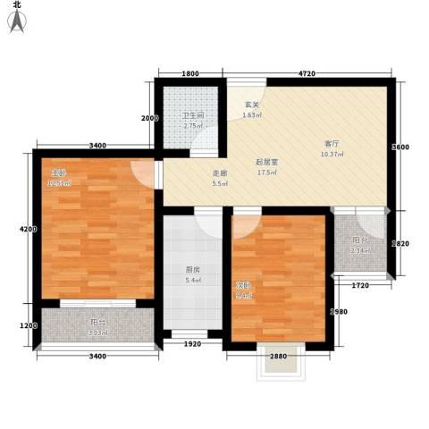 融鑫逸景2室0厅1卫1厨80.00㎡户型图