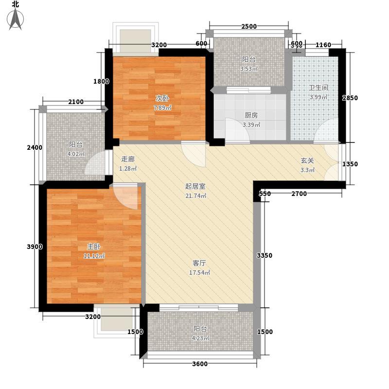 楚天都市金园88.69㎡6号楼A面积8869m户型