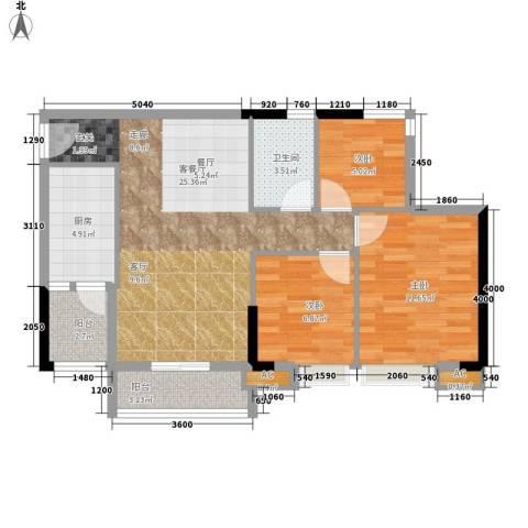 瑜翠园3室1厅1卫1厨86.00㎡户型图
