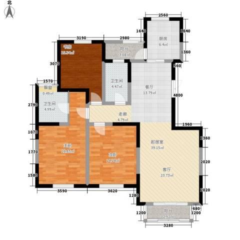 粮食局家属院3室0厅2卫1厨122.00㎡户型图