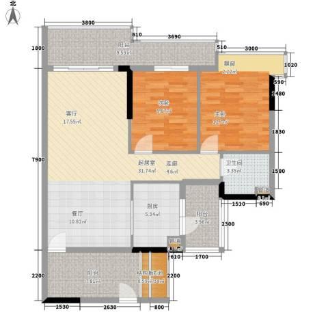 星河湾2室0厅1卫1厨123.00㎡户型图