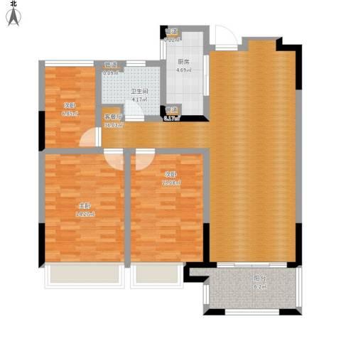 绿地华尔道名邸3室1厅1卫1厨124.00㎡户型图