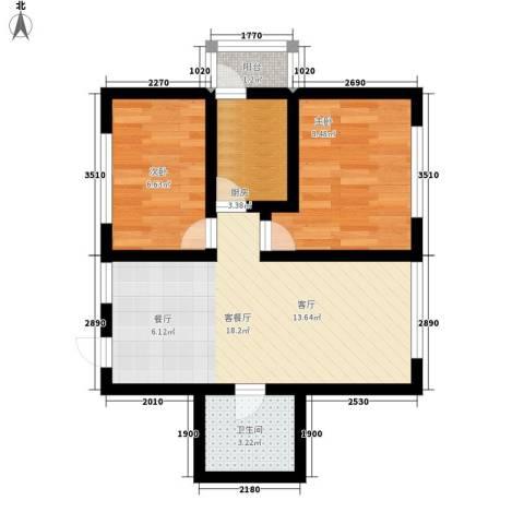 罗马公元2室1厅1卫1厨73.00㎡户型图