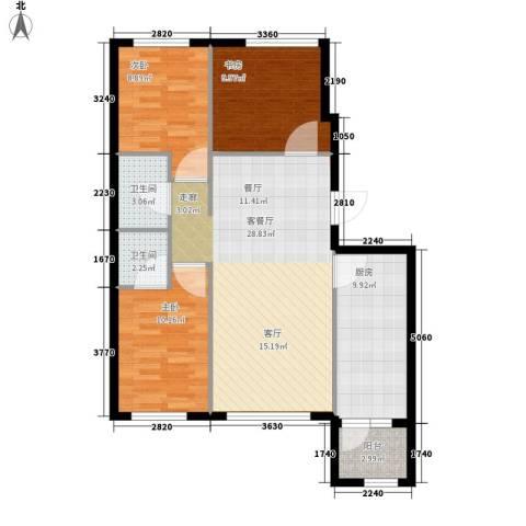 罗马公元3室1厅2卫1厨106.00㎡户型图