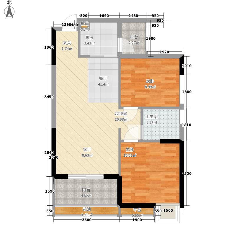泓景花园76.49㎡B8栋4层01单位面积7649m户型