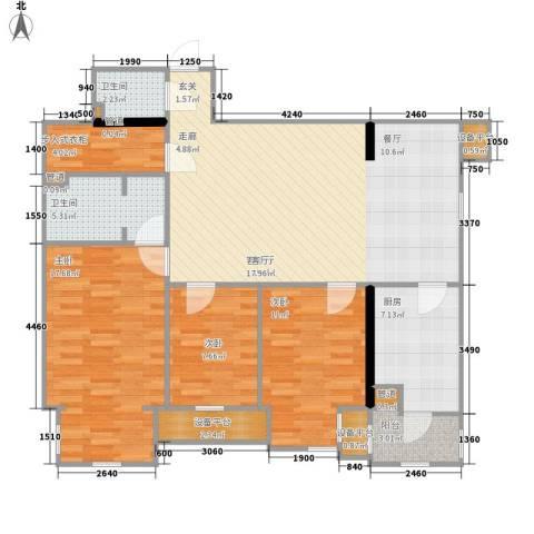 联邦东方明珠3室1厅2卫1厨122.00㎡户型图