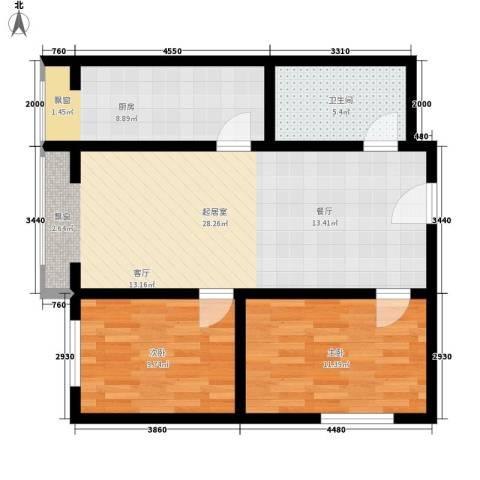 绿地乐和公馆2室0厅1卫1厨73.00㎡户型图