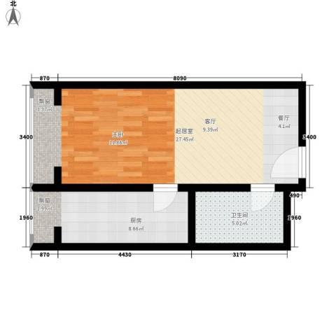 绿地乐和公馆1卫1厨47.00㎡户型图
