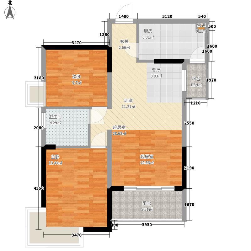 泓景花园77.68㎡B4-B7栋02单位面积7768m户型
