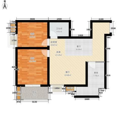 糜家桥小区2室0厅1卫1厨86.00㎡户型图