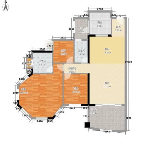 美林湖畔3室0厅2卫1厨134.00㎡户型图