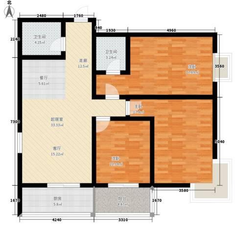 金桥太阳岛3室0厅2卫1厨112.00㎡户型图