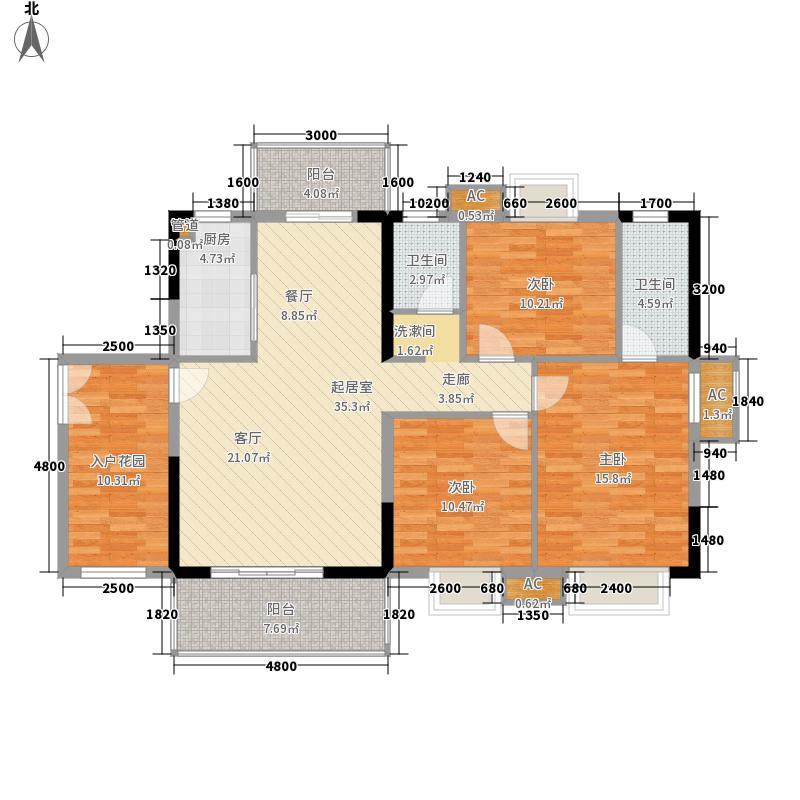 世茂天城D户型三房两厅两卫户型3室2厅2卫