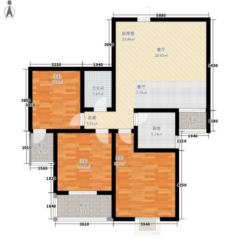 金桥太阳岛3室0厅1卫1厨105.00㎡户型图