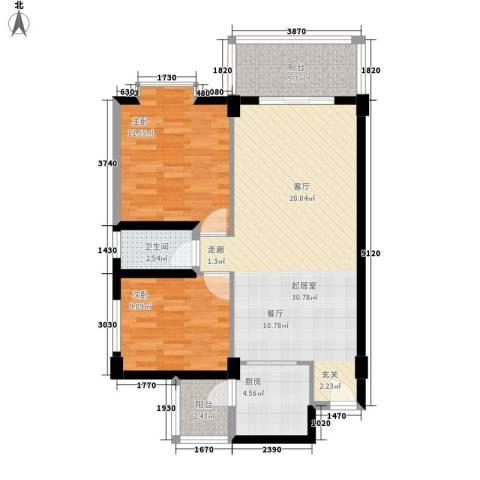 东悦雅苑2室0厅1卫1厨77.00㎡户型图