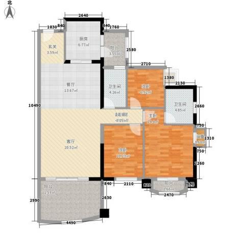 美林湖畔3室0厅2卫1厨120.00㎡户型图