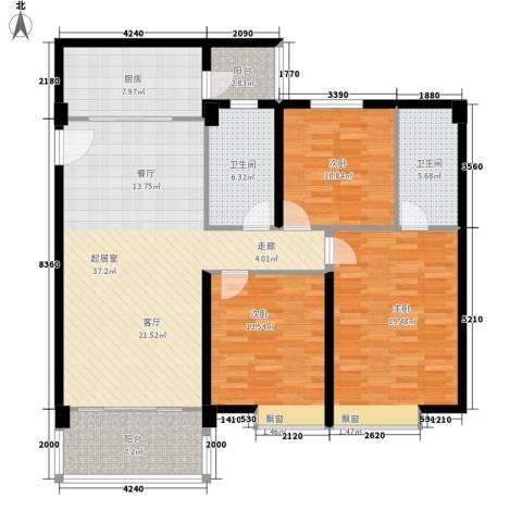 东悦雅苑3室0厅2卫1厨124.00㎡户型图