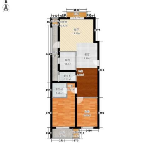 紫薇花园2室0厅2卫1厨87.00㎡户型图