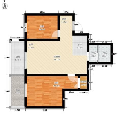 金桥太阳岛2室0厅2卫1厨83.00㎡户型图