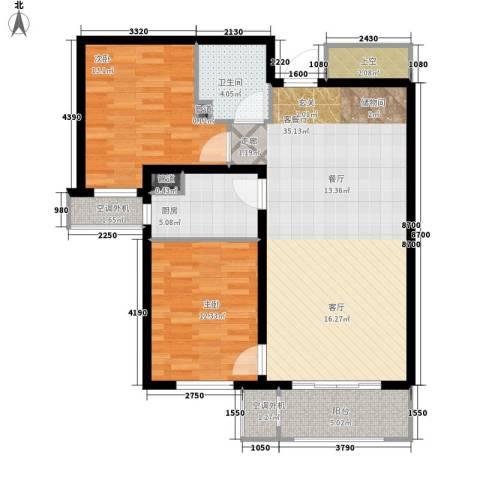 哈尔滨万达城2室1厅1卫1厨91.00㎡户型图