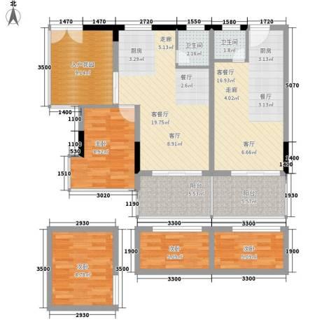 日月星城4室2厅2卫0厨88.75㎡户型图